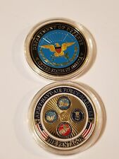 Gold Plated Army Navy Air Force Marines The Pentagon Commemorative Coin Physical