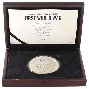 10 Pounds / First World War / Bailiwick Of Guernsey 2014 / 5oz Silver Coin 925