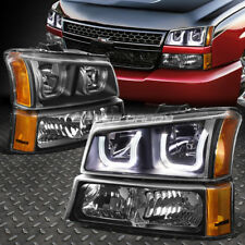 [LED U-HALO]FOR 2003-2006 CHEVY SILVERADO BLACK AMBER HEADLIGHT/LAMP SET 4PCS