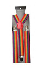 Unisex Gay Pride Rainbow Stripe clip-on Bretelle Regolabili Costume Nuovo di Zecca