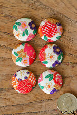 NEW 6 x Japanese Floral Patterns Fabric Covered Flat Buttons Craft 40L 25mm VAT