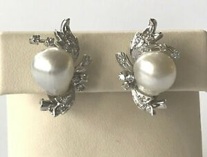 10 x 12.5 mm White Baroque South Sea Pearl and Diamond 14k White Gold Earrings
