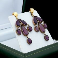 Antique Vintage Georgian 14k Rose Gold Spanish Amethyst Paste Wedding Earrings