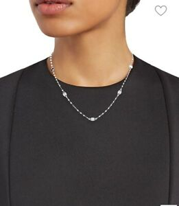 """Lana Jewelry Disc 14K White Gold Station Necklace 18"""" Chain"""