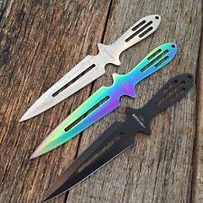 "3PC 9"" LARGE HEAVY DUTY Ninja Tactical TITANIUM Naruto Kunai Throwing Knife -W"