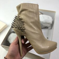 Womens Givanno Leather Silver Spike Stiletto Booties Size 8