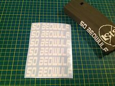 "AR 15 Magazine ""50 BEOWULF"" Sticker Pack, 6 Pack, AR 15, AK, WHITE!"