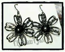 Black Crystal Flower Earrings.....Black  Hooks