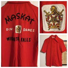RARE DEM DAMES Freemason Masonic Maskat Shriners Bowling Shirt SZ M Demolay