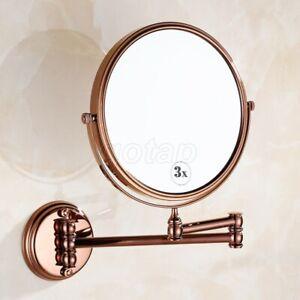 Rose Golden Folding Dual Arm Extend Bathroom Mirror Wall Mounted Makeup Mirror
