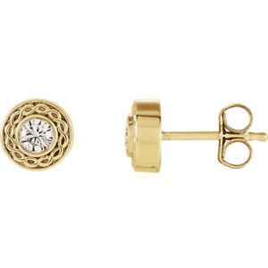 Charles & Colvard Moissanite Earrings In 14K Yellow Gold