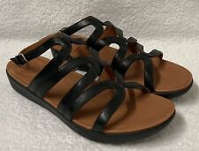 "FitFlop ""Strata"" Black Leather Gladiator Boho Wedge Sandals  Women 6  MINT COND!"