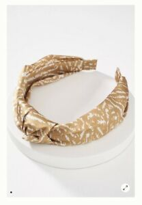 """NEW Goldish Green White ANTHROPOLOGIE Parker Silky Knotted Headband 1.25"""" NWT"""