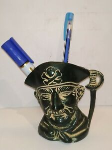VINTAGE DECORATIVE COLLECTIBLE PIRATE FACE PEN HOLDER ANTIQUE LOOK  HANDMADE#1