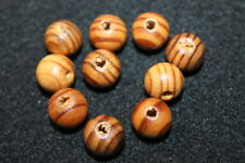 10 Holzperlen - Holzkugeln - 12 mm - rund - Kiefer - kaffebraun lasiert