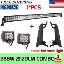 "50"" 288W LED Light Bar+ Upper Roof Mounting Brackets For 97-06 Jeep Wrangler TJ"