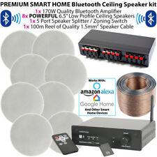 Premium 8x 80W Stéréo haut-Parleur de plafond Kit - Bluetooth Amplificateur