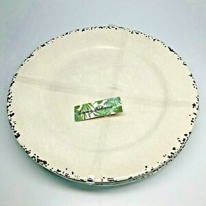 Tommy Bahama Melamine 4 Dinner Plate Set Tan and Brown Crackle, Tuscan Rustic