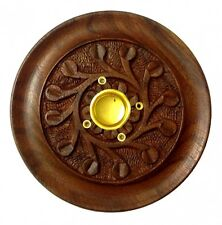 """4"""" HANDMADE CARVED WOOD INCENSE CONE & STICK BURNER Wooden Wicca FREE SHIPPING"""