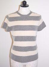 J CREW 100% Cashmere Gray & Cream Striped Crewneck Sweater M