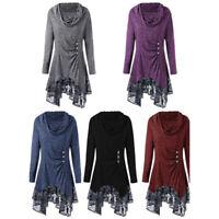 Women's Asymmetrical Top Turtleneck Lace Long Sleeve Cowl Neck Tunic Swing Dress