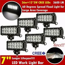 6x 7INCH 36W CREE LED WORK LIGHT BAR FLOOD OFFROAD LAMP DRIVING BOAT ATV SUV 4WD