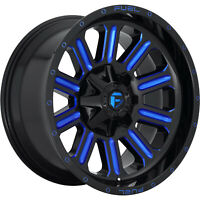 4 - 18x9 Black Blue Wheel Fuel Hardline D646 5x4.5 5x5 -12