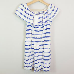 KOOKAI Womens Size 1 or 10 / US 6 Off Shoulder Striped Playsuit NEW + TAGS