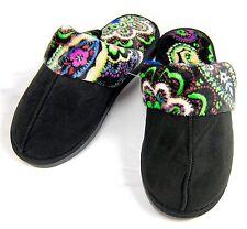 Vera Bradley Womens Black Scuff Slippers Kiev Paisley Hard Sole Size Small 5/6