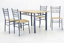 Dining Table Set Four Chairs Silver Metal Frame Beech Finish Solid Durable