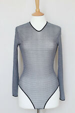 GIVENCHY Lingerie black white monogram sheer stretch mesh top bodysuit M Medium