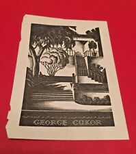 George Cukor Library Bookplate - Remember When - Allen Churchill - Author SIGNED