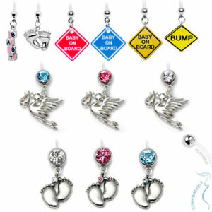 Rajnard 14G Pregnancy Belly Button Rings Clear Flexible Sport Maternity Belly Button Ring Long Bar Navel Button Rings Mix Style 38mm