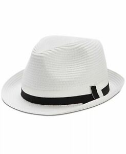 $95 Block Headwear Men's White Braided Paper Straw Brim Cap Fedora Hat One Size