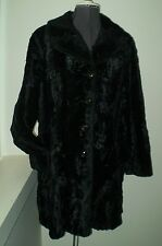 1960's Davis of Boston Faux Beaver Black Winter Coat L/B40 Euc