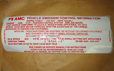 1975 AMC Pacer Hornet NOS manual 258 six emission sticker