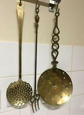 More details for vintage brass toasting fork & 2 chestnut roasting spoons