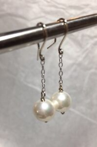 """925 Sterling Silver and Ivory White 8 mm Glass Pearls 1 1/4"""" Drop Earrings"""
