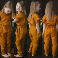 Toddler Kids Baby Girls Fashion Solid Button Romper Jumpsuits Children Clothes