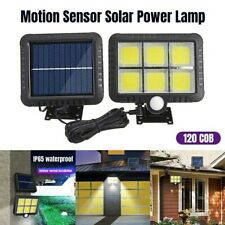 100/120 COB LED Solar Power PIR Sensor Light Outdoor Garden Security Wall Lamp