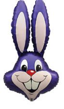 "PURPLE EASTER RABBIT BUNNY HEAD SUPERSHAPE 39"" FOIL BALLOON"