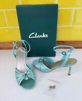 Clarks Solita Aqua Green Satin Mid Heel Sandals UK 4 Floral Embellished Wedding