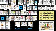 ITALIA 2016 annata 103 valori con 78 CODICE BARRE : vinitaly WWF panda filatelia