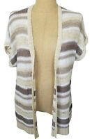 Chicos White Beige Stripe Open Front Short Sleeve Cardigan Sweater Size 3 XL