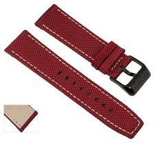 Wristwatch Strap Leather/textile With Contrasting Seam 24mm Fits All Festina Red