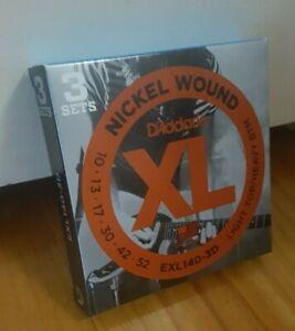 D'Addario EXL140-3D (3 Sets) Nickel Wound Electric Guitar Strings. Gauge: 10-52