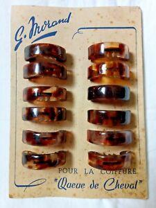 Carte de barrettes à cheveux queue de cheval vintage années 50 60 Lot de 12