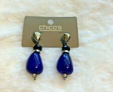 Chico's Glass Bead Drop Earrings Blue Spark