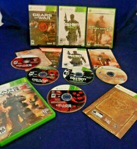 Xbox 360;Gears of War Triple Pack, Gears of War 3, C of D MW2, MW3, w/Manuals,VG