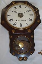 SCARCE c.1800s Seth Thomas #3 Office Wall Clock 8 Day Chime Strike Alarm